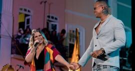 Marília Mendonça grava música com Leo Santana na Bahia